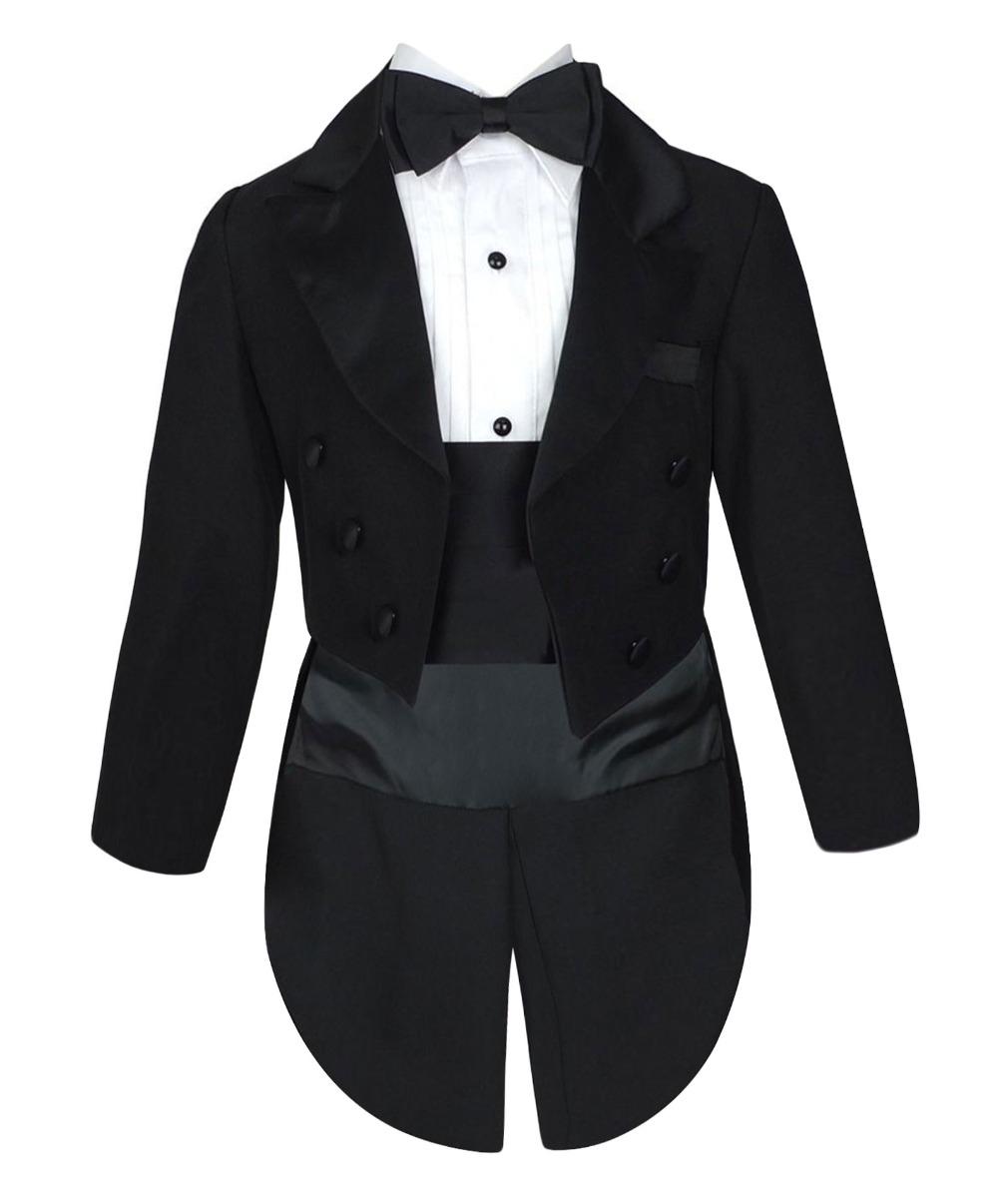 Baby Boys Tuxedo Tail Suit in Black 5 PCS Christening Wedding Pageboy Dinner