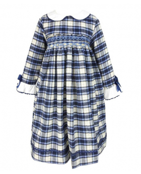 Front view of the Beau Kids Girls Blue Tartan Smocked Dress