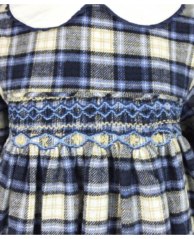 Detail view of the Beau Kids Girls Blue Tartan Smocked Dress