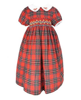 Beau Kid Girls Red Smocked Tartan Cotton Dress