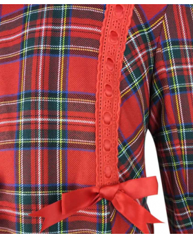 Near view of the Beau KID Girls Red Tartan Coat with Hat