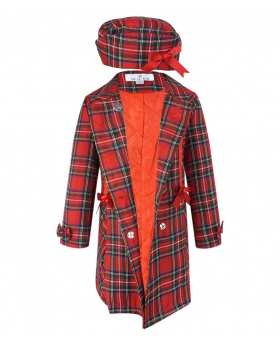 Front view of the Beau KID Girls Red Tartan Coat with Hat