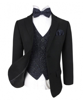 Designer Boys Black Suit with Navy Blue Cosmo Waistcoat Set, open view of the jacket with waistcoat, shirt, bow tie and hanky