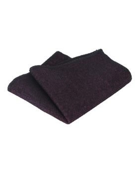 Mens & Boys Herringbone Tweed Pocket Handkerchief in Purple