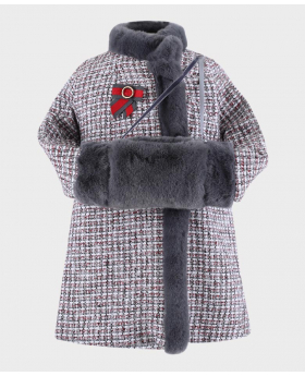 Tweed Coat  with faux fur hand muff