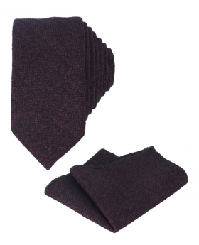 Mens & Boys Herringbone Slim Tweed Tie and Pocket Square in Purple