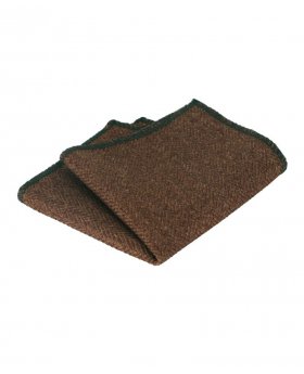 Near view of the Mens & Boys Herringbone Tweed Hanky in Cinnamon Brown