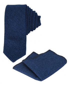 Mens & Boys Herringbone Slim Tweed Tie and Pocket Square in Blue