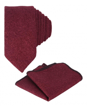 Mens & Boys Herringbone Slim Tweed Tie and Pocket Square in Burgundy