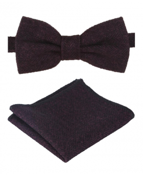 Mens & Boys Purple Herringbone Tweed Dickie Bow Tie and Pocket Square