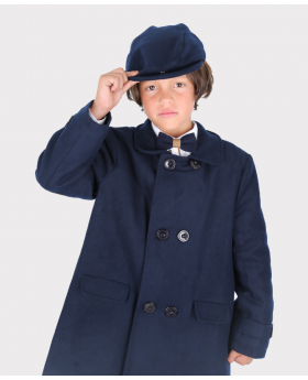 Boys Felted Wool Coat and Hat 3-Piece Set in Navy Blue