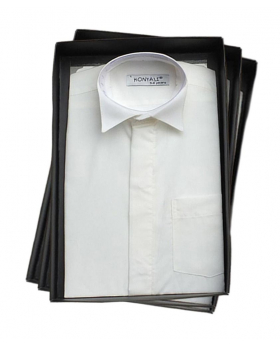 View of the Pageboys Wing Collar Shirt in Ivory