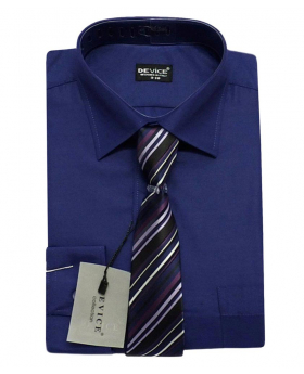 Men Navy Blue Shirt and Tie Set