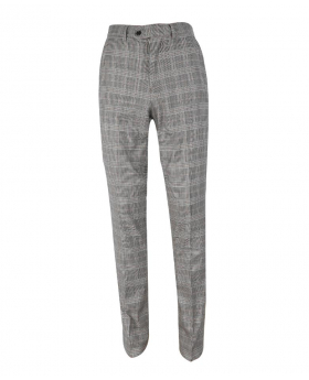 Mens  Trousers Slim Fit Vintage Check in Dark Grey front picture