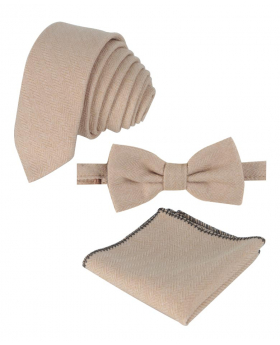 Mens & Boys Herringbone Tweed Pocket Handkerchief in Beige