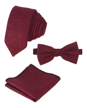 Mens & Boys Herringbone Tweed Pocket Handkerchief in Burgundy