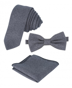 Mens & Boys Herringbone Tweed Pocket Handkerchief in Grey