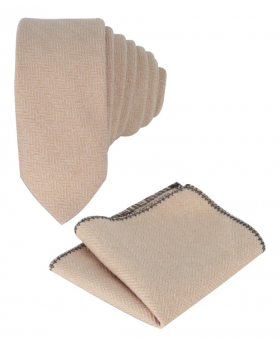 Mens & Boys Herringbone Slim Tweed Tie and Pocket Square in Beige