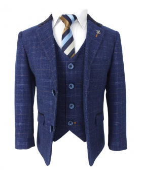 Cavani Mens & Boys Slim Fit Retro Blue Check Tweed Style Suit