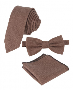 View of the hanky with tie an bow tie of the Mens & Boys Herringbone Tweed Hanky in Tan Brown