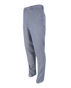 Mens Delray Duck Egg Blue Slim Fit Tweed Check Trousers
