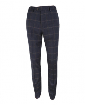 Front view of the Men's Slim Fit Tweed Check Trousers Connall Navy Blue