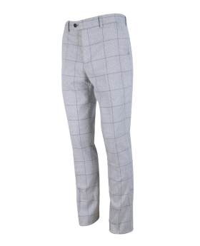 Left side view of the Men's Light Grey Windowpane Check Heritage Slim Fit Trousers
