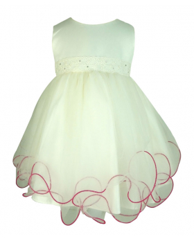 Frazer & James Baby Girls Ivory Dress with Fuchsia Butterfly Bolero Jacket