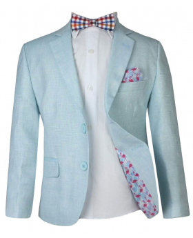 Boy Mint Green Linen Casual Suit Sets