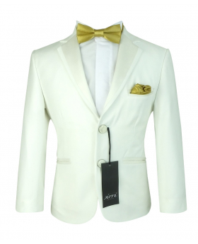 Flamingo Boys Sheen Lapel Off White Slim Fit Communion Suit