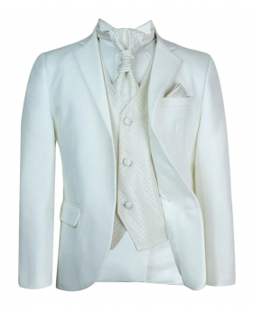 Boys New 5 Piece Ivory & Ivory Wedding Cravat Suit