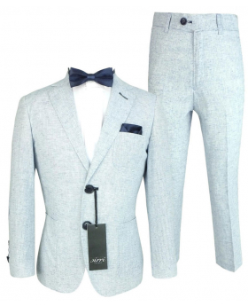 Boys Tweed Linen Suit in Pale Blue  front picture
