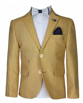 Boys Linen Smart Casual Blazer in Gold with accessories front picture