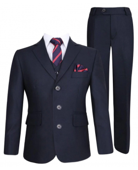 Designer Sebastian Le Blanc Boys Navy Blue 3 Piece Suit Set