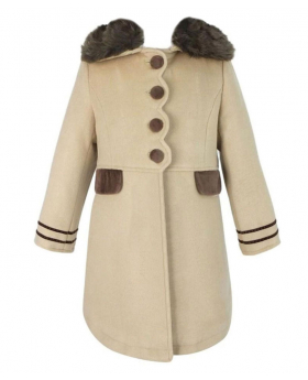 Front view of the coat from the Designer Girls Beige Coat and Hat Set