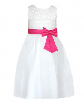 Flower Girls Ivory & Fuchsia Party Dress With Satin Bow