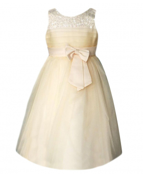 Flower Girls Champagne Party Dress With Satin Bow