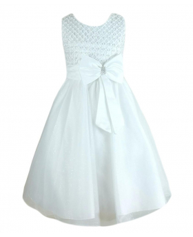 Girls New Diamante Big Bow Beaded Dress in White