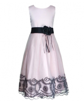 Girls Salmon Pink Dress with Black Flower Sash - Flower Girls Dresses
