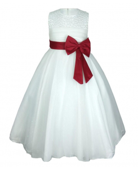 Flower Girls Ivory & Red Party Dress With Satin Bow