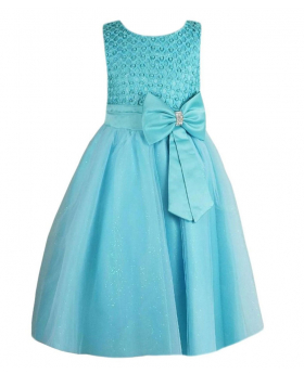Girls New Diamante Big Bow Beaded Dress in Mint