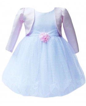UK Baby Girls Pink White Bolero Wedding Bridesmaid Christening Dresses