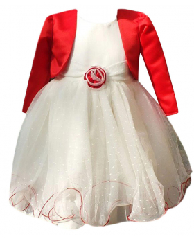 Baby Girls Red & Cream Bolero Dress