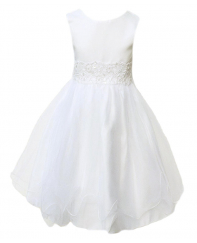 Baby Girls Ivory Flower Girl Dresses Pageant Party Christening Dress