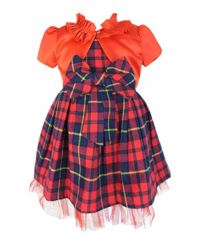 Couche Tot Tartan Sleeveless Party Red Check Christmas Dress. View from the dress and bolero.