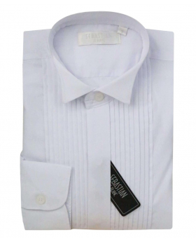 Boys Sebastian Le Blanc Formal Pleaded Wing Collar White Tuxedo Shirt