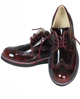 Flamingo Boys Lace up Brogues Oxford burgundy Shoes