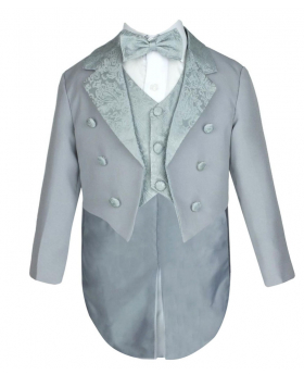 Boys 5 PC Dove Grey Tuxedo Christening Suit