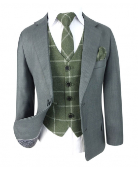 Designer Boys Light Grey Suit with Green Check Waistcoat Set open front view of the blazer jacket suit set