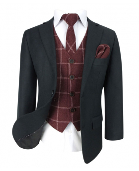 Designer Boys Dark Grey Suit with Maroon Tweed Check Waistcoat Set